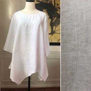 For Cynthia White 100% Linen Tunic Handkerchief M